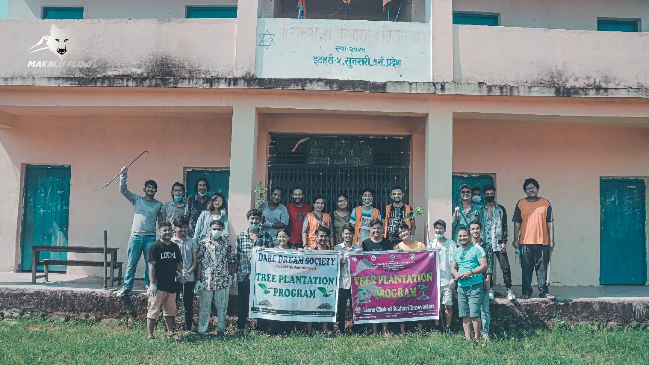 ड्रेयर ड्रिम सोसाइटीद्धारा इटहरीको जनता बस्तीमा वृक्षारोपण